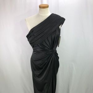 Adrianna Papell One Shoulder Black Gown Size 8 NWT